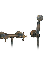 cheap -Shower Faucet - Antique Antique Brass Wall Mounted Ceramic Valve Bath Shower Mixer Taps / Two Handles Three Holes