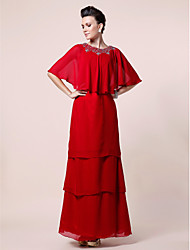 cheap -A-Line Mother of the Bride Dress Jewel Neck Floor Length Chiffon Half Sleeve with Beading 2021