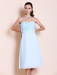 cheap -Princess / A-Line Strapless / Sweetheart Neckline Tea Length Chiffon Bridesmaid Dress with Criss Cross / Ruched / Flower