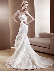 cheap -Mermaid / Trumpet Wedding Dresses Strapless Sweetheart Neckline Chapel Train Lace Sleeveless with 2020