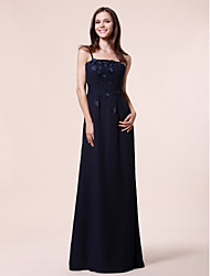 cheap -Sheath / Column Spaghetti Strap Floor Length Chiffon / Stretch Satin Bridesmaid Dress with Beading / Draping / Appliques