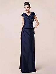 cheap -Sheath / Column Formal Evening Wedding Party Dress V Neck Short Sleeve Floor Length Taffeta with Buttons Draping 2021