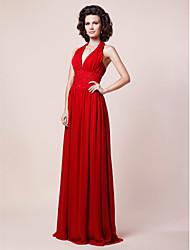cheap -Sheath / Column Mother of the Bride Dress Open Back Halter Neck V Neck Floor Length Chiffon Sleeveless with Pleats Beading Draping 2021