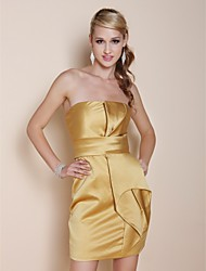 cheap -Sheath / Column All Celebrity Styles Holiday Homecoming Cocktail Party Dress Strapless Sleeveless Short / Mini Satin with Ruffles 2020