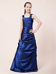 cheap -A-Line / Princess Straps Floor Length Taffeta Junior Bridesmaid Dress with Side Draping / Ruched / Spring / Fall / Winter / Wedding Party / Natural