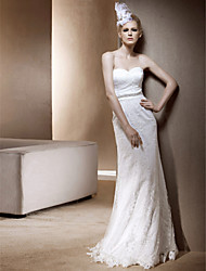 cheap -Sheath / Column Wedding Dresses Sweetheart Neckline Strapless Floor Length Lace Sleeveless with 2021