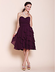 cheap -Princess / A-Line Sweetheart Neckline / Strapless Knee Length Chiffon Bridesmaid Dress with Side Draping