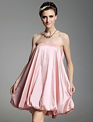 cheap -Ball Gown All Celebrity Styles Inspired by Sex and the City Homecoming Cocktail Party Dress Strapless Sleeveless Short / Mini Taffeta with Pleats Draping 2021