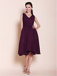 cheap -A-Line / Ball Gown V Neck Knee Length Chiffon Bridesmaid Dress with Bow(s) / Draping / Ruched by LAN TING BRIDE®