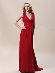 cheap -Sheath / Column Elegant Celebrity Style Formal Evening Military Ball Dress Queen Anne V Neck Sleeveless Sweep / Brush Train Chiffon with Beading Side Draping 2020
