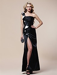 cheap -Sheath / Column Furcal Formal Evening Military Ball Dress One Shoulder Sleeveless Floor Length Stretch Satin with Ruched Ruffles Split Front 2021