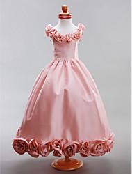 cheap -A-Line / Princess Floor Length Flower Girl Dress - Taffeta Sleeveless Scoop Neck with Draping / Flower by LAN TING BRIDE® / Spring / Summer / Fall / Winter / Wedding Party