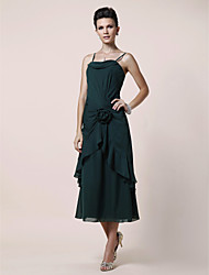 cheap -A-Line Mother of the Bride Dress Floral Spaghetti Strap Tea Length Chiffon Sleeveless with Side Draping Flower 2020