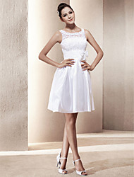 cheap -A-Line Wedding Dresses Scoop Neck Short / Mini Lace Taffeta Regular Straps Little White Dress with Bowknot Sash / Ribbon Beading 2020