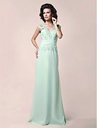 cheap -A-Line Mother of the Bride Dress Elegant V Neck Floor Length Chiffon Beaded Lace Sleeveless with Lace Ruched Beading 2021