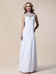 cheap -Sheath / Column Elegant Formal Evening Military Ball Dress Bateau Neck Sleeveless Floor Length Chiffon with Beading Ruffles Side Draping 2021