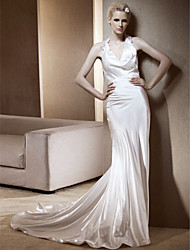 cheap -Sheath / Column Wedding Dresses Halter Neck Chapel Train Stretch Satin Sleeveless with 2021