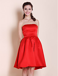 cheap -Princess / A-Line Strapless Knee Length Satin Bridesmaid Dress with Pleats