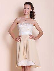 cheap -Knee-length Chiffon / Satin / Lace Bridesmaid Dress - Champagne Plus Sizes / Petite A-line / Princess Strapless