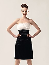 cheap -Sheath / Column All Celebrity Styles Inspired by TV Stars Holiday Homecoming Cocktail Party Dress Strapless Sleeveless Knee Length Organza Stretch Satin with Ruffles 2020