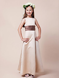 cheap -A-Line / Princess Bateau Neck Floor Length Satin Junior Bridesmaid Dress with Sash / Ribbon / Ruched / Spring / Summer / Fall / Winter / Apple