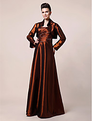 cheap -A-Line Mother of the Bride Dress Strapless Floor Length Taffeta Long Sleeve with Beading Side Draping 2021