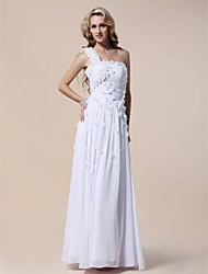 cheap -Sheath / Column Open Back Formal Evening Military Ball Dress One Shoulder Sleeveless Floor Length Chiffon with Ruched Beading Side Draping 2021