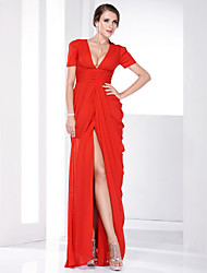 cheap -Sheath / Column Plunging Neck Floor Length Chiffon Celebrity Style / Furcal Formal Evening / Military Ball Dress with Ruched / Draping / Split Front 2020 / Puff / Balloon Sleeve
