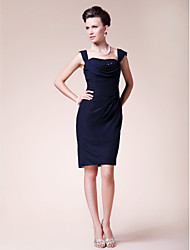 cheap -Sheath / Column Mother of the Bride Dress Straps Knee Length Chiffon Sleeveless with Beading Side Draping 2021
