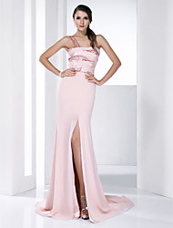 cheap -Sheath / Column All Celebrity Styles Prom Formal Evening Dress One Shoulder Sleeveless Court Train Chiffon Stretch Satin with Criss Cross Sequin Split Front 2020