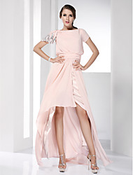 cheap -Sheath / Column Boat Neck / Bateau Neck Asymmetrical Chiffon High Low / Celebrity Style Prom / Formal Evening Dress with Sequin / Ruched by TS Couture®