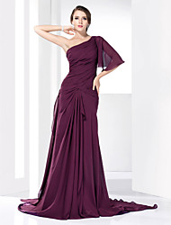 cheap -Ball Gown Formal Evening Dress One Shoulder Half Sleeve Court Train Chiffon Satin with Draping Side Draping 2021
