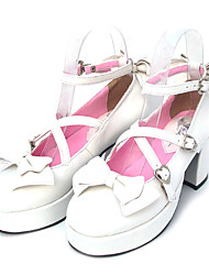 cheap -Women's Lolita Shoes Sweet Lolita Lace Up High Heel Shoes Bowknot 7.5 cm White PU Leather / Polyurethane Leather Polyurethane Leather Halloween Costumes