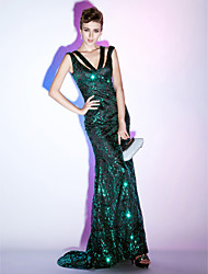 cheap -Mermaid / Trumpet Sheath / Column Elegant Celebrity Style Sparkle & Shine Formal Evening Military Ball Dress V Neck Sleeveless Sweep / Brush Train Sequined with Sequin 2020