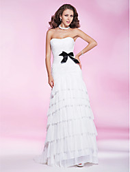 cheap -A-Line All Celebrity Styles Inspired by Cannes Film Festival Open Back Formal Evening Military Ball Dress Sweetheart Neckline Strapless Sleeveless Sweep / Brush Train Chiffon Organza with Bow(s) Side