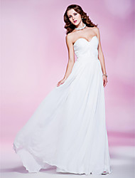 cheap -Sheath / Column Elegant All Celebrity Styles Formal Evening Military Ball Dress Strapless Sweetheart Neckline Sleeveless Floor Length Chiffon with Ruched Draping Side Draping 2020