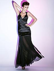 cheap -Mermaid / Trumpet Sheath / Column Formal Evening Military Ball Dress Halter Neck V Neck Sleeveless Floor Length Chiffon Stretch Satin with Draping Side Draping 2021