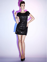 cheap -Sheath / Column Boat Neck / Bateau Neck Short / Mini Sequined Little Black Dress Cocktail Party Dress with Beading / Bandage by TS Couture®