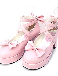 cheap -Women's Lolita Shoes Sweet Lolita High Heel Shoes Bowknot 6.5 cm Black Pink PU Leather / Polyurethane Leather Polyurethane Leather Halloween Costumes / Princess