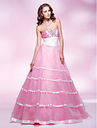 cheap -Ball Gown Vintage Inspired Quinceanera Prom Formal Evening Dress Sweetheart Neckline Strapless Sleeveless Floor Length Organza Stretch Satin with Sash / Ribbon Ruched Crystals 2021