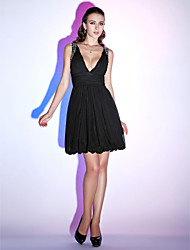 cheap -Ball Gown Little Black Dress Holiday Homecoming Cocktail Party Dress V Neck Sleeveless Knee Length Chiffon with Ruched Beading Draping 2021