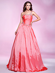 cheap -Ball Gown Quinceanera Prom Formal Evening Dress One Shoulder Sleeveless Floor Length Taffeta with Ruched Beading Draping 2021