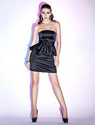 cheap -Sheath / Column Little Black Dress Homecoming Cocktail Party Dress Strapless Sleeveless Short / Mini Satin with Ruffles Flower 2021