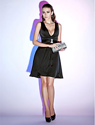 cheap -A-Line Plunging Neck Short / Mini Chiffon Little Black Dress Cocktail Party Dress with Sash / Ribbon by TS Couture®