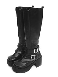 cheap -Women's Lolita Shoes Boots Punk Lolita Ōji Lolita (Boystyle) Lolita High Heel Shoes Solid Colored 9 cm Black PU Leather / Polyurethane Leather Polyurethane Leather Halloween Costumes