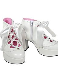 cheap -Women's Lolita Shoes Punk Lolita Lolita High Heel Shoes Solid Colored 7.5 cm White Black PU Leather / Polyurethane Leather Polyurethane Leather Halloween Costumes