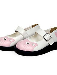 cheap -Women's Lolita Shoes Sweet Lolita Lolita Flat Heel Shoes Solid Colored 3 cm Black Pink PU Leather / Polyurethane Leather Polyurethane Leather Halloween Costumes