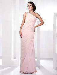 cheap -Sheath / Column Elegant Prom Formal Evening Military Ball Dress One Shoulder Sleeveless Floor Length Chiffon with Beading Side Draping 2021
