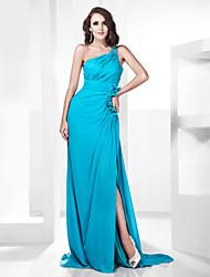 cheap -Sheath / Column Prom Formal Evening Military Ball Dress One Shoulder Sleeveless Sweep / Brush Train Chiffon Stretch Satin with Beading Ruffles Draping 2021