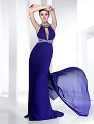 cheap -Sheath / Column Open Back Formal Evening Dress Jewel Neck Sleeveless Sweep / Brush Train Chiffon with Crystals Beading Draping 2021